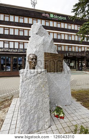 ZAKOPANE POLAND - MARCH 06 2016: Monument to Wincenty Galica was unveiled on October 11 2015. Wincenty Galica deserved for the city as a medical doctor and social activist