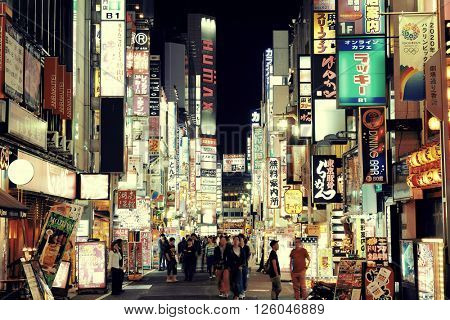 TOKYO, JAPAN - MAY 13: Shinjuku Street view at night on May 13, 2013 in Tokyo. Tokyo is the capital of Japan and the most populous metropolitan area in the world