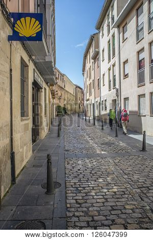 Logroño Spain - April 9 2016. Pilgrims on the Way of St. James in Ruavieja street of Logroño La Rioja. Spain.