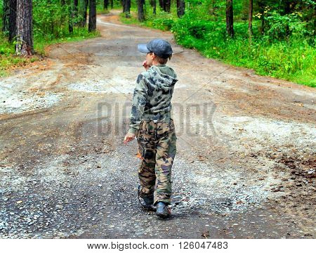 Kid walk in the Summer Forest Alone