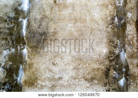 Aged old dirty concrete cracked wall texture or background