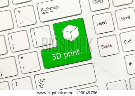 White Conceptual Keyboard - 3D Print (green Key With Cube Symbol)