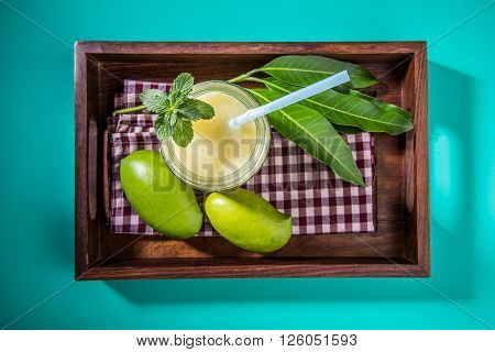 Aam Panna or Salted Green Mano Juice or green kairi panha or kairi pahna, refreshing cold dring in indian summer