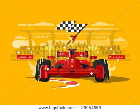 Sport car in race. Speed race competition, auto motor vehicle, champion transportation, vector illustration