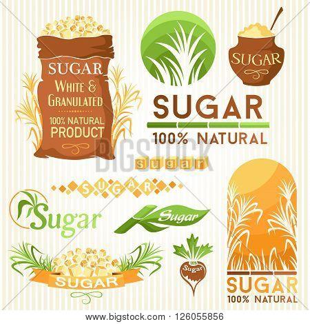 Sugar decorative elemnts. Labels icons and symbols.