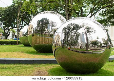 SINGAPORE - JAN 19, 2016: Mirror Balls in Empress Place in front of Asian Civilizations Museum. On Sep 2014, the Museum was named the top museum in Singapore, ranked among Asias top 10 museums.