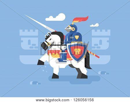 Knight on horseback character. Armor and helmet, medieval warrior, vector illustration