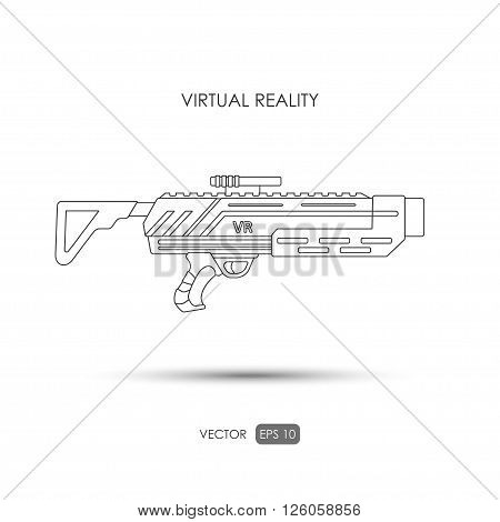 Missile. Gun for virtual reality system. Video game weapons. Video game guns. Outline drawing. Vector illustration