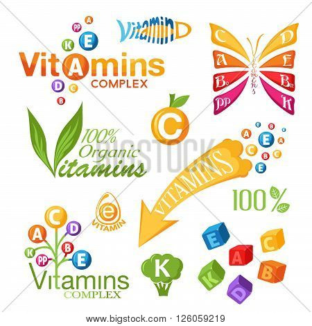Vitamins symbols icons and other design elements