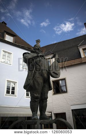 musician monument in fussen in germany during summer