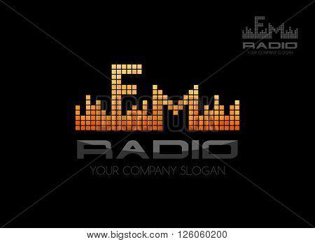Radio fm logo. Music equalizer emblem template
