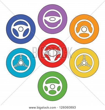 Car steering wheel vector icons. Set of automobile steering wheel flat icons inside the circles. EPS8 vector.