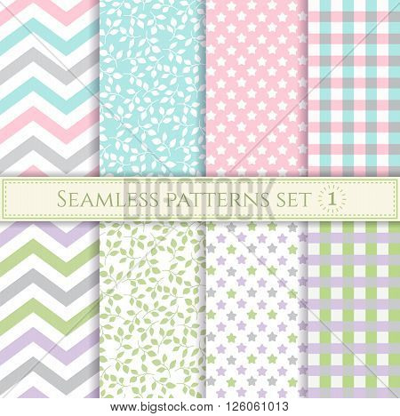 Set of seamless patterns in pastel colors for textile, fabric, wrapping paper or scrap booking.
