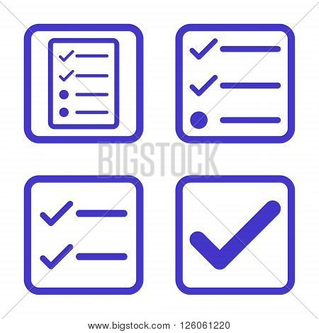 Valid vector icon. Image style is a flat icon symbol inside a square rounded frame, violet color, white background.