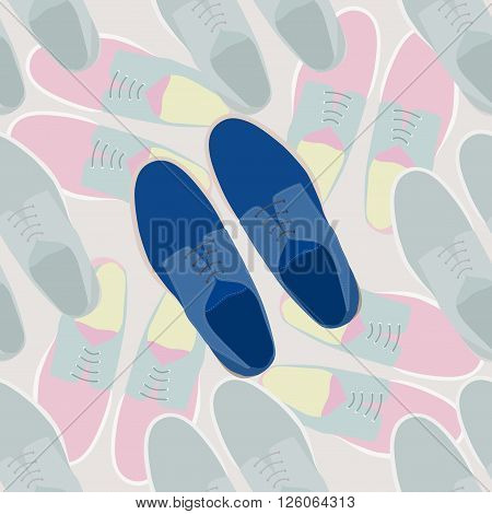 Fashion men shoes. Seamless pattern of a modern and style men shoes