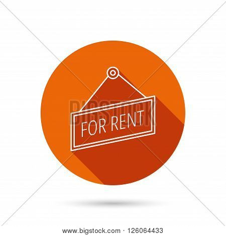 For rent icon. Advertising banner tag sign. Round orange web button with shadow.
