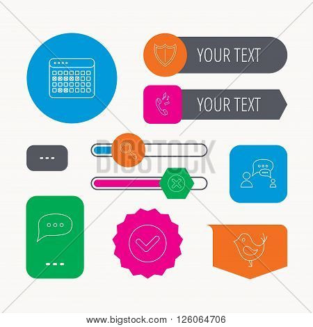 Phone ringtone, chat speech bubble icons. Shield, dialog and magnifier linear signs. Bird, calendar of vacations icons. Web buttons and app menu navigation.