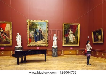 SAINT PETERSBURG, RUSSIA - APRIL 11, 2016: Interior of the State Russian Museum, painting Karl Brullov. The museum is the largest depository of Russian fine art in St. Petersburg