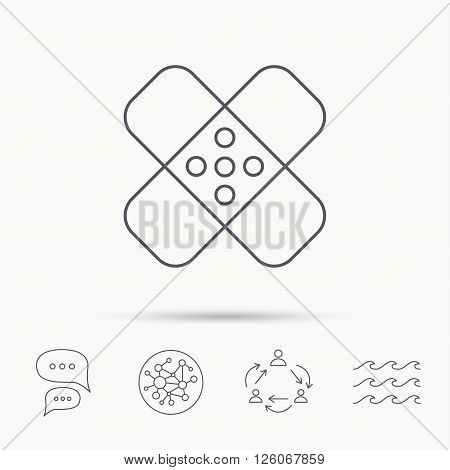 Medical plaster icon. Injury fix sign. Global connect network, ocean wave and chat dialog icons. Teamwork symbol.