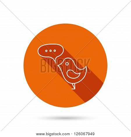 Bird with speech bubble icon. Chat talk sign. Cute small fowl symbol. Round orange web button with shadow.