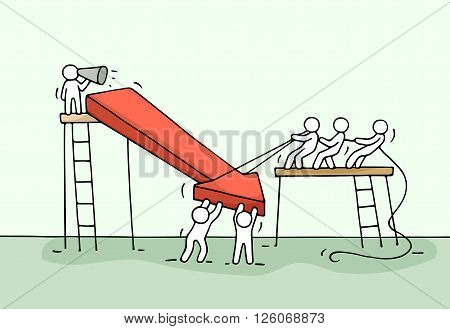 Sketch of working little people with arrow down teamwork. Doodle cute miniature arrow and prepare out of the crisis. Hand drawn cartoon vector illustration for business design and infographic.
