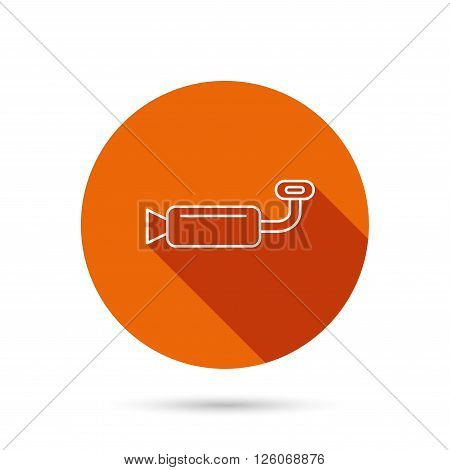 Muffer icon. Car fuel pipe or exhaust sign. Round orange web button with shadow.