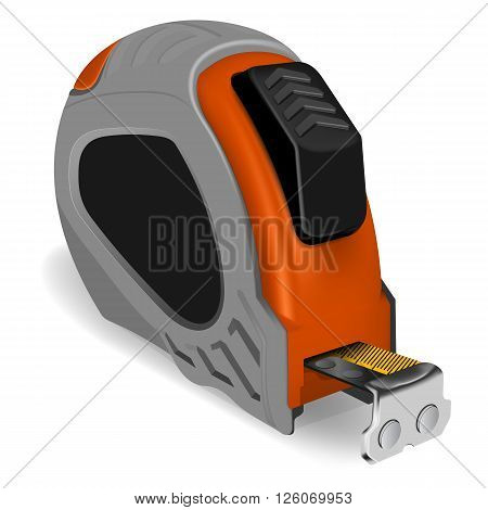 Photorealistic tape measure on white background. Vector illustration