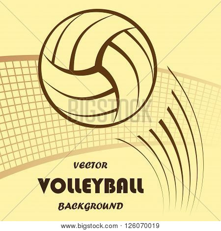 Abstract yellow volleyball silhouette with background and text. eps10