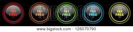 tax free colored web icons set on black background