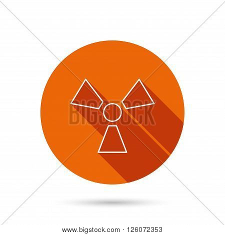 Radiation icon. Radiology sign. Round orange web button with shadow.