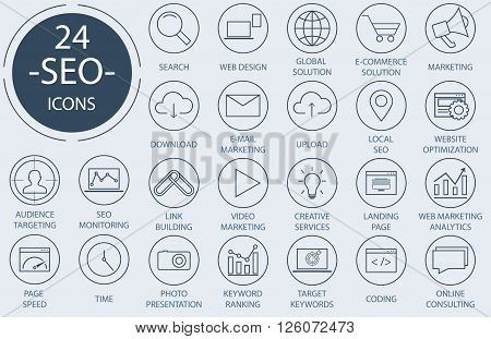Outline web icons set - Search Engine Optimization.