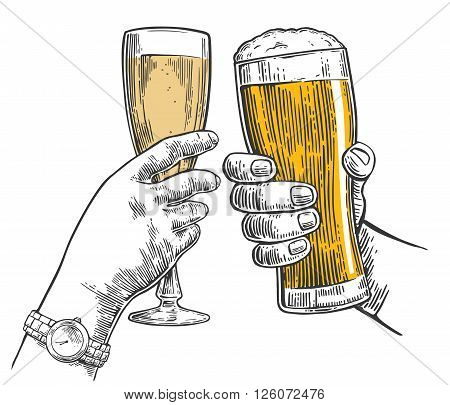 Two hands clink a glass of beer and a glass of champagne. Hand drawn design element. Vintage vector engraving illustration for web poster invitation to party. Isolated on white background.