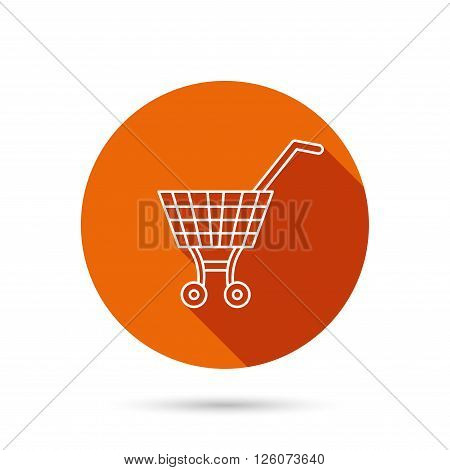 Shopping cart icon. Market buying sign. Round orange web button with shadow.