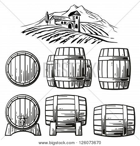 Wooden barrel set and rural landscape with villa vineyard fields hills mountains. Black and white vintage vector illustration for label poster web icon
