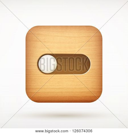 White Toggle Switch App Icon On Rounded Corner Wooden Square