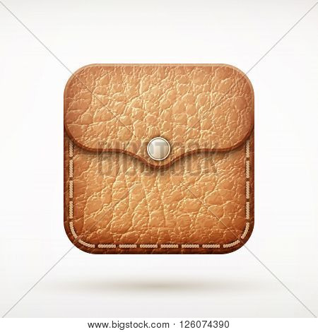 Leather Wallet App Icon On Rounded Corner Square