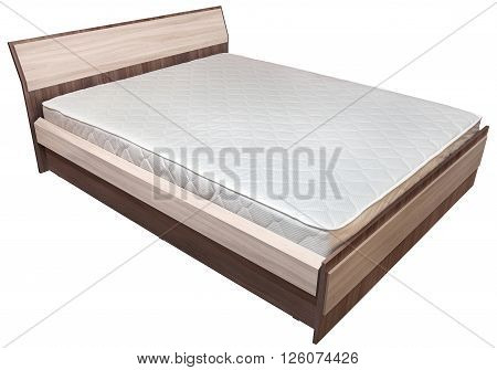 One wooden double bed with spring mattress isolated on white background.