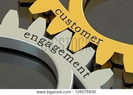 Customer Engagement concept on the gearwheels 3D rendering