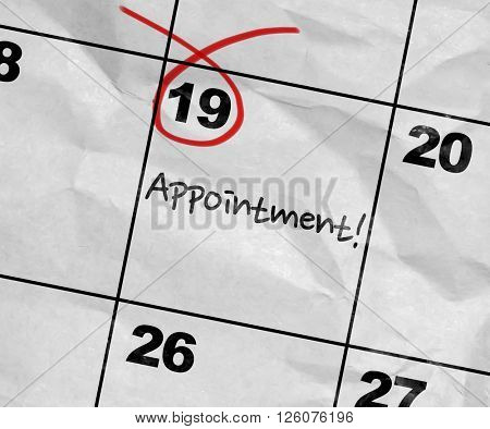 Concept image of a Calendar with the text: Appointment
