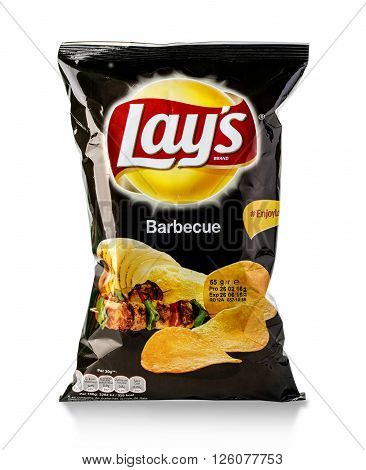 Chisinau Moldova _ March 25 2016: Bag of Frito Lay Barbecue potato chips. Frito-Lay is the worlds largest distributed snack food.
