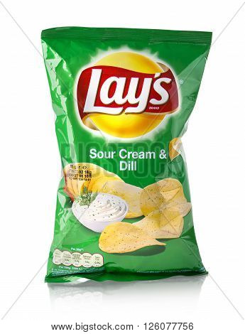 CHISINAU MOLDOVA - March 26. 2016: Bag of Lays Sour Cream & Dell potato chips. Frito-Lay is the worlds largest distributed snack food.