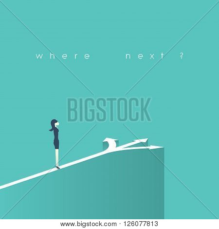 Business decision concept vector illustration. Businesswoman standing on the crossroads with three arrows and directions. Eps10 vector illustration.