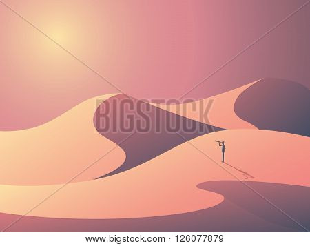 Explorer in sand dunes on a desert. Landscape vector illustration with man outdoors. Business symbol of vision, goals and ambition. Eps10 vector illustration.