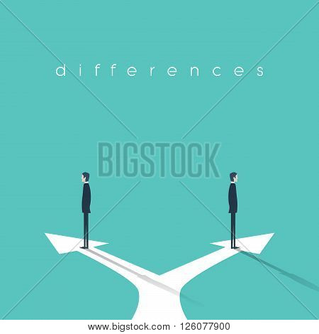 Business concept of confrontation, different opinions and disagreement. Two businessmen standing in opposite directions. Eps10 vector illustration.