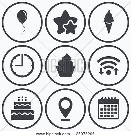 Clock, wifi and stars icons. Birthday party icons. Cake with ice cream signs. Air balloon with rope symbol. Calendar symbol.