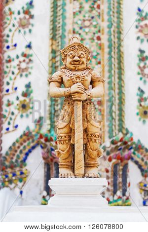 Sculpture in Royal Palace Bangkok Thailand. Wat Phra Keo. Architecture detail - statue of mythical creature.