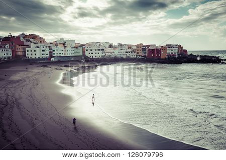 Puerto de la CruzSpain-20 March 2015:Beach in Puerto de la Cruz - Tenerife island (Canary Spain)