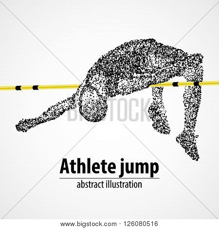 Abstract The athlete jumps in height of the black circles. Vector illustration.