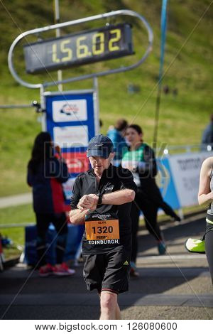 EDINBURGH â?? APRIL 17: Participants of 10 mile Great Edinburgh Run at their final stretch in Holyrood Park, April 17, 2016 in Edinburgh, UK