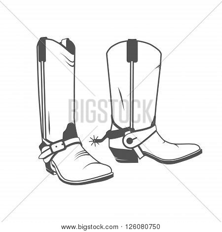 Two Vintage Western Cowboy Boots. Vector illustration.